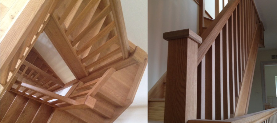 Wooden staircase construction